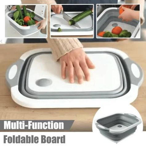 The ideal solution to small kitchens and a crowded cabinet. This innovative and lightweight bucket is designed for easy storage and carrying that can be expanded and collapsed!  Can be used as a dish tub and camping clean-up such as washing dishes and carrying iced beverages. Durable chopping board for cutting, chopping and slicing after folding ideal for dishes, fruit, vegetable.. This comes with an integrated plug and strainer, simply press the plug to drain or strain the water. 🍃