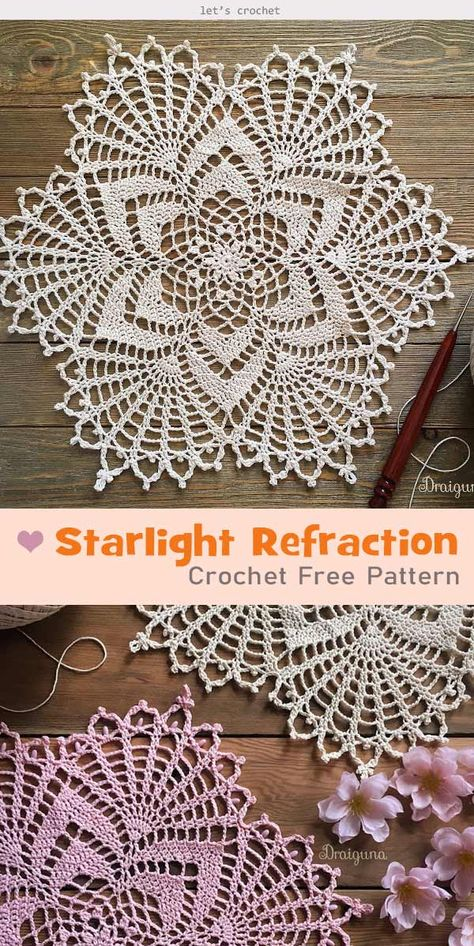 crochet doilies Starlight Refraction Crochet Free Pattern is a great project to DIY lovely and stylish doily. You can use it with cups, dishes or other tabletop items. Free Crochet Doily Patterns, Crochet Doily Diagram, Lace Patterns, Filet Crochet, Crochet Motif, Free Pattern, Crochet Tablecloth Pattern, Mandala Crochet, Crochet Coaster
