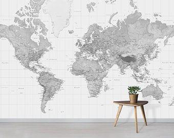 Map Wallpaper Self Adhesive Peel And Stick Political World Map Etsy World Map Wallpaper Map Wallpaper Mural Wallpaper