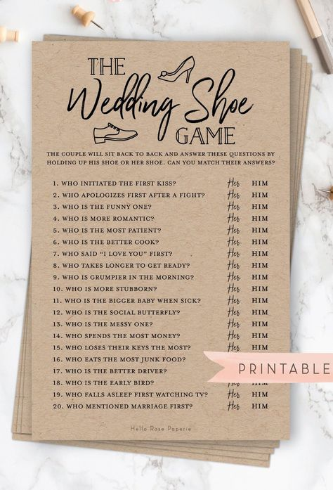 The Wedding Shoe Game . Bridal Wedding Couples Shower . Engagement Party . Printable Instant Download . Rustic Kraft PLUS Black and White