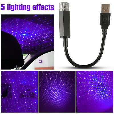 LED USB Car Interior Atmosphere Star Sky Lamp Ambient Star Light Projector Blue
