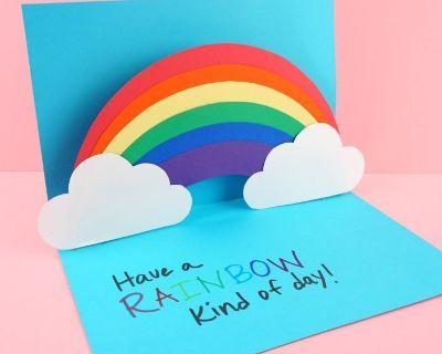 Pin By Catherine Clark On Kids Diy Arts Crafts Lounge Rainbow Card Diy Pop Up Cards Pop Up Cards