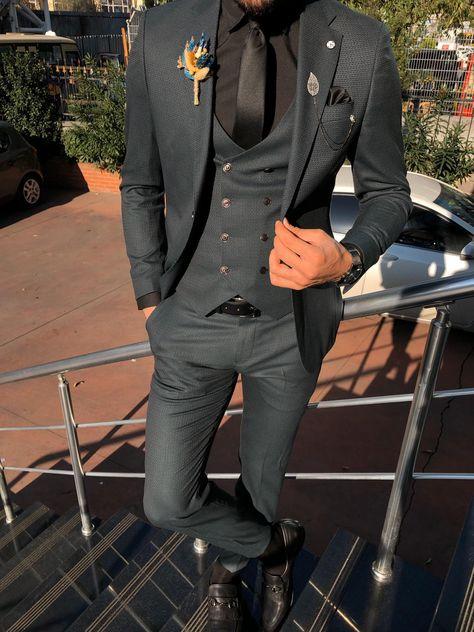 Fresno Charcoal Slim Fit Patterned Suit