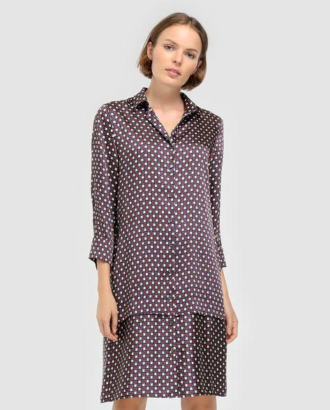 9401f20c5 Vestido camisero de mujer Woman El Corte Inglés con estampado geométrico