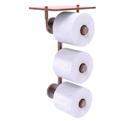 Charlton Home Dalston Wall Mount Toilet Paper Holder With Wood Shelf Wayfair In 2020 Toilet Paper Holder Wall Mounted Toilet Recessed Toilet Paper Holder