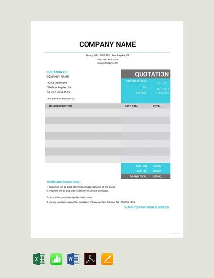 Taxi Quotation Template Google Docs Google Sheets Excel Word Apple Numbers Apple Pages Pdf Template Net Quotations Quote Template Quotation Sample