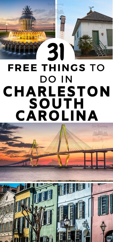 Rich in both US history and old architecture Charleston is full of fun and exciting things to do. Here are some great free things to do in Charleston SC. #southcarolina #charleston #thingstodo #freethingstodo #ourroaminghearts #frugaltravel   Frugal Travel   Budget-Friendly Travel   Charleston South Carolina   Things to do in Charleston   Free things to do in Charleston SC   South Carolina Travel Charleston Sc Things To Do, Downtown Charleston Sc, Restaurants In Charleston Sc, Charleston Beaches, Chicago Restaurants, Us Travel Destinations, Places To Travel, Travel Things, The Places Youll Go