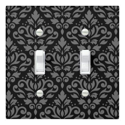 Scroll Damask Big Pattern Gray On Black Light Switch Cover Zazzle Com In 2020 Light Switch Covers Black Light Switch Light Switch