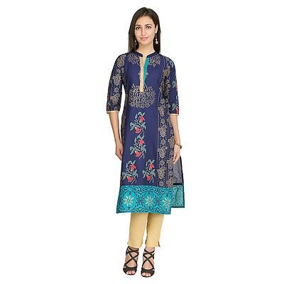 Details about  /Women Printed Poly Multi color Straight Regular Fit Fashion Crepe Straight Kurti