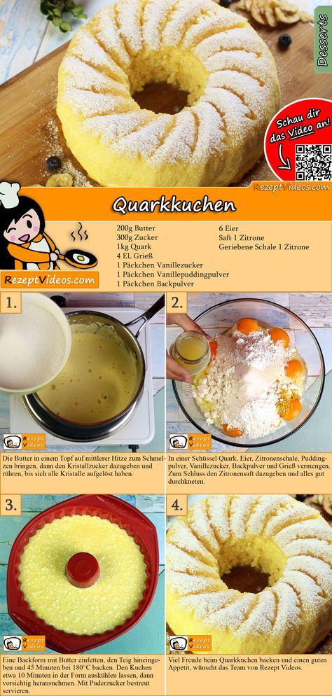 Wie wäre es anstatt Schokoladenkuchen heute mal mit einem leichten Quarkkuchen? Das Quarkkuchen Rezept Video findest du mit Hilfe des QR-Codes ganz leicht :) #Quarkkuchen #Backrezepte #Kuchen #DessertRezept #Dessert #Nachtisch #Gäste #RezeptVideo #RezeptVideos #Rezept