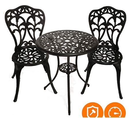 Innfinest 3 Piece Patio Bistro Dining Set Cast Aluminum Table