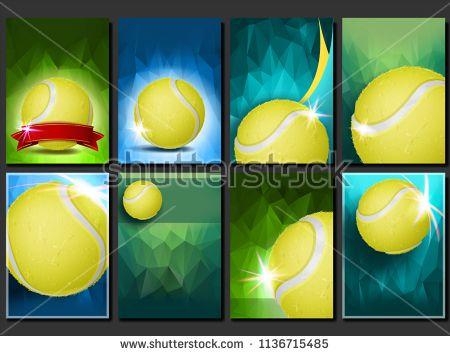 Tennis Poster Set Vector Empty Template For Design Promotion Court Tennis Ball Modern Flyer Tournament Sport Tennis Posters Sport Poster Design Templates