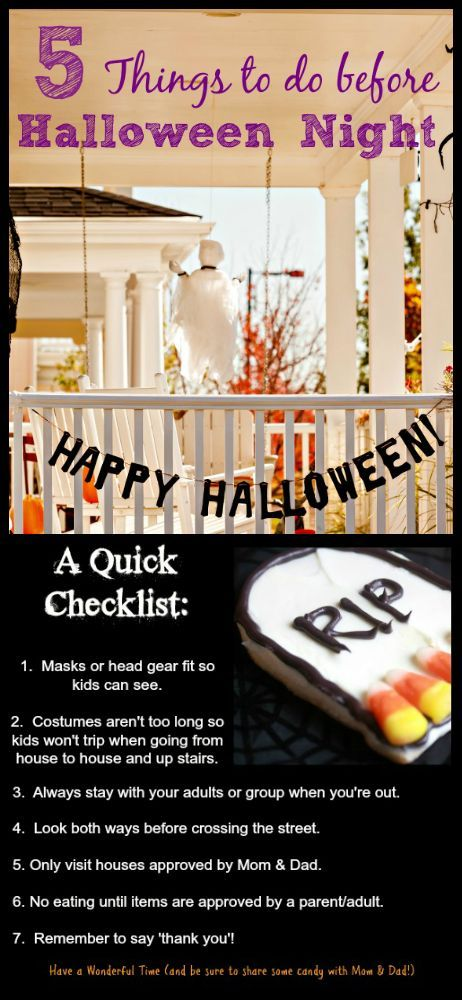 Great Checklist On Things To Do Before Halloween Night Including Trick Or Treat Safety What Halloween Things To Do Halloween Games Activities Halloween Night