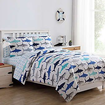 8pc FULL Blue Sharks BED IN BAG COMFORTER SHEETS THROW PILLOW SHAMS BEDROOM