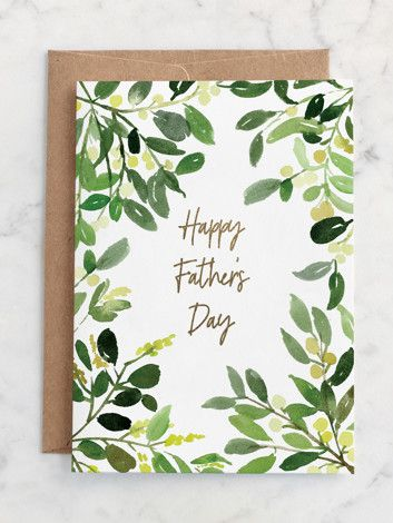 Father S Day Watercolor Greenery Father S Day Greeting Card