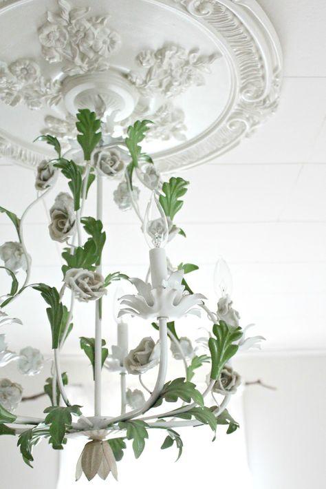 white green chandelier