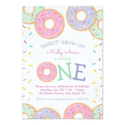 Donut 1st First Birthday Invitation Pink Sprinkles Zazzle Com First Birthday Invitations Birthday Invitations Pink Invitations