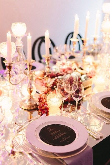 Luxurious Dinner Set Up Luxurious Glassware Clear Candles