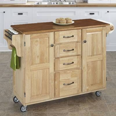 Kuhnhenn Kitchen Cart With Wood Top Reviews Joss Main Kitchen Island With Granite Top Kitchen Tops Granite Home Styles