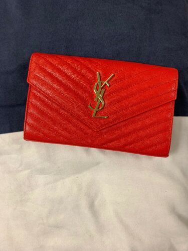 d85f85e1978 Details about Yves Saint Laurent Monogram Crossbody Bag (Red Leather ...