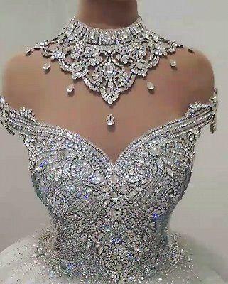 Luxury High Neck Crystal Beading Ball Gown Wedding Dresses | www.babyonlinewholesale.com