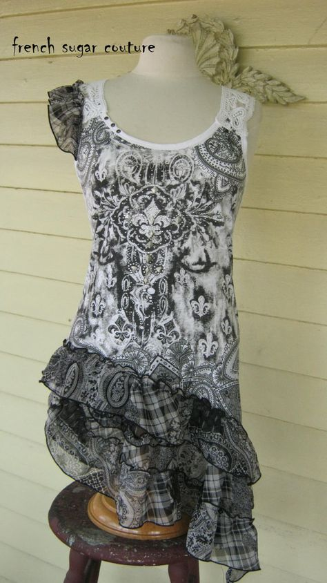 French Sugar Parisian Fleur De Lis Black and White Print Long Tank Top  - Altered Couture - Size Small on Etsy, $72.00