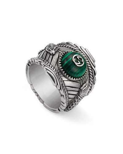 160113cd1 Gucci Men's Feline Head Green Resin Ring, Size 7 | Products | Gucci ...