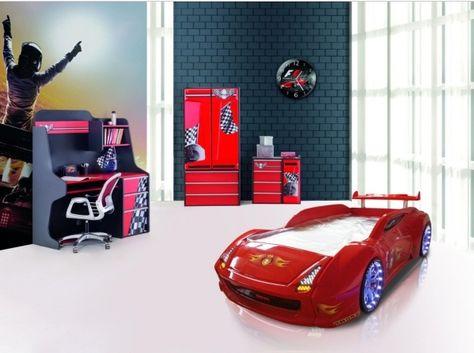 Autobett Komplettzimmer Kinderzimmer Turbo Jugendzimmer Redcar 6-teilig rot