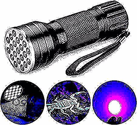 2 61 Ywxlight الأشعة فوق البنفسجية 21 المصابيح 395nm الترا البنفسجي الشعلة مضيا ضوء مصباح للكشف عن الكلب البول ال Silver Watch Electronic Products Headphones