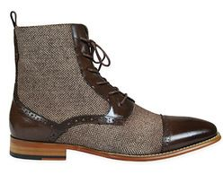 men formal dress boots tweed fabric boots for men Handmade men leather boots