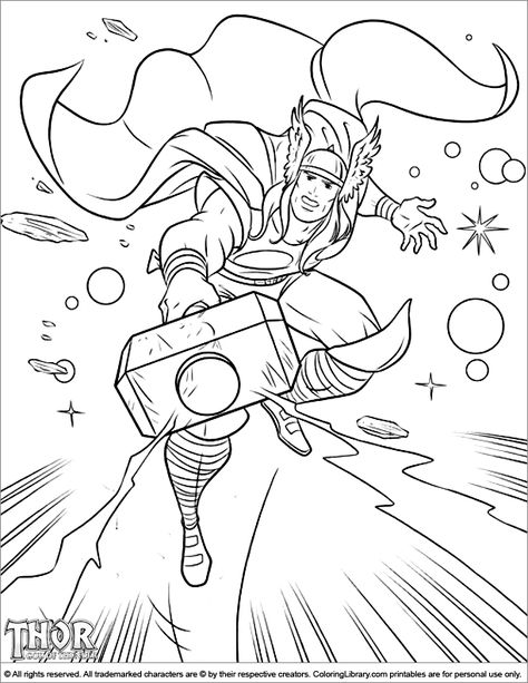 Cool Thor Coloring Page Thor Is Holding His Mighty Hammer In Space Superhero Coloring Pages Super Hero Coloring Sheets Avengers Coloring