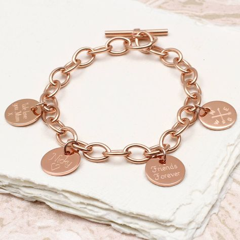 Personalised 18ct Gold Disc Charm Bracelet