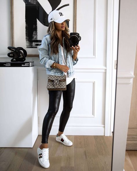 Leggins Casual, Leather Leggings Outfit, Spanx Faux Leather Leggings, Leggings Outfit Fall, Clubbing Outfits, Casual Outfits, Cute Outfits, Clubbing Clothes, Trendy Fall Outfits