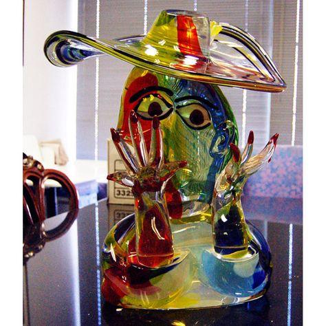 Glas Vase im Murano Stil 47cm Tischvase massive Glasvase 6,2kg