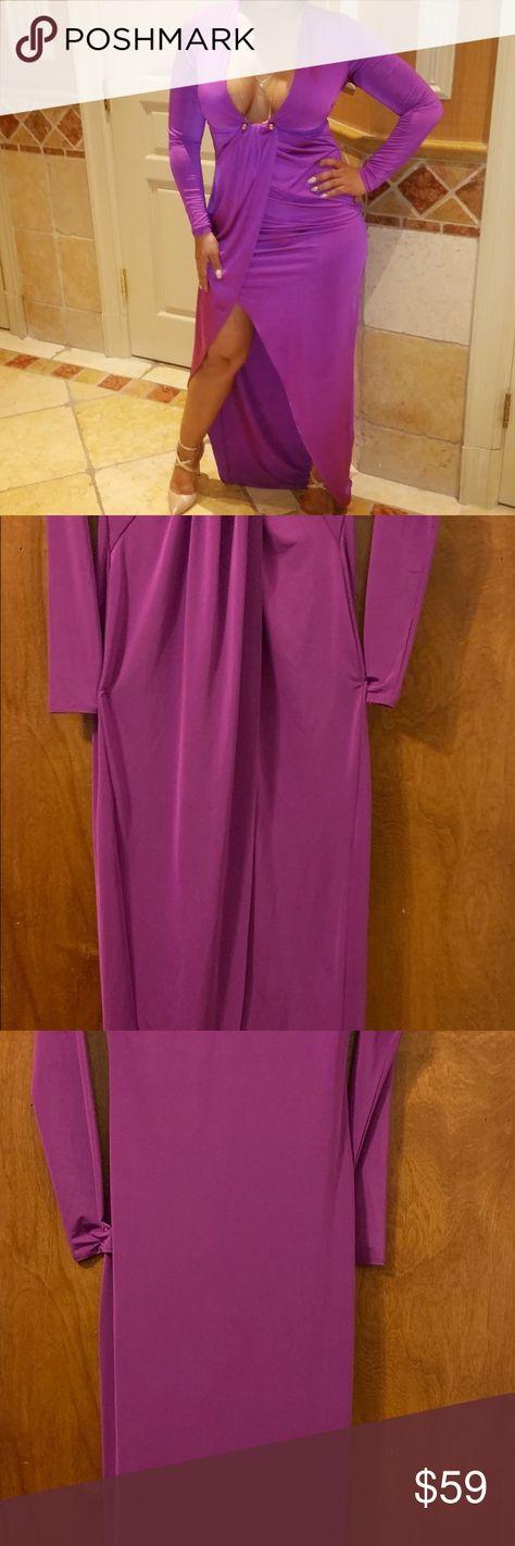 Marciano Dress Long sleeve  Plunging Neckline  Gold bar bottom of neckline  Asymmetrical middle slit Marciano Dresses