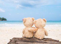 Pluszowe misie na plaży