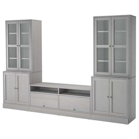HAVSTA TV storage combination/glass doors - gray