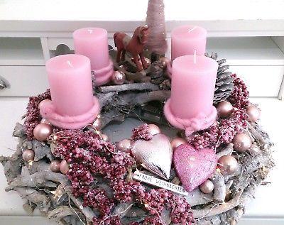 Adventskranz Advent Weihnachtsdeko Adventsdeko Wurzelholz Rosa Neu Led Deko Weihnachten Adventskranz Deko Weihnachten Advent Basteln Weihnachten Adventskranz