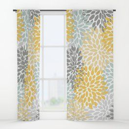 Floral Pattern Yellow Pale Aqua Blue And Gray Window Curtains
