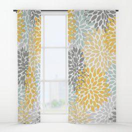 Floral Pattern Yellow Pale Aqua Blue And Gray Window Curtains Curtains Yellow Shower Curtains Bathroom Design Decor