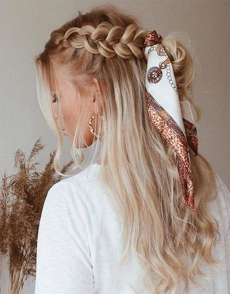 Awesome Braid Hairstyle with Scarf Look for 2019   Stylesmod