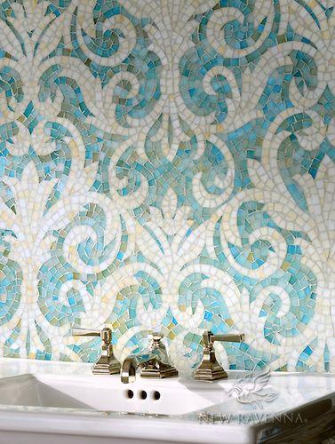 Serena jewel glass mosaic in Aquamarine and Quartz. Mosaic Glass, Mosaic Tiles, Stained Glass, Tiling, Mosaic Backsplash, Mosaic Mirrors, Home Interior, Interior Decorating, Ravenna Mosaics