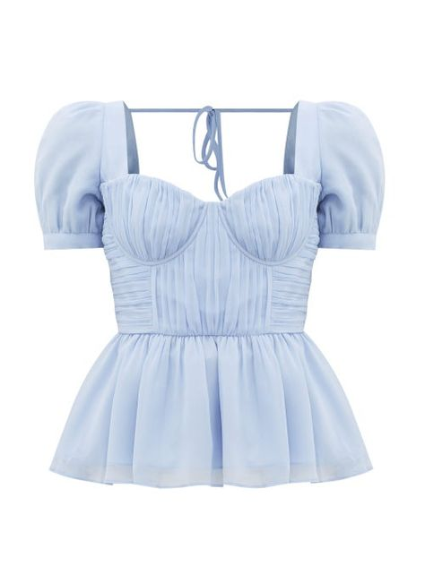Self-portrait - Pleated Peplum-hem Crepe-chiffon Top - Womens - Light Blue Peplum Top Outfits, Peplum Dresses, Bandage Dresses, Peplum Blouse, Shift Dresses, Blue Corset, White Peplum Tops, Light Blue Top, Top Wedding Dresses
