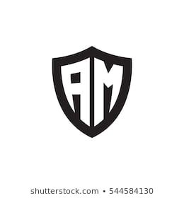 Initial Letters Am Shield Shape Black Monogram Logo With Images