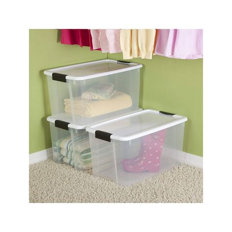 Sterilite 70 Quart Ultra Latch Storage Box With White Lid Clear Base 12 Pack Storage Storage Boxes Storage Containers