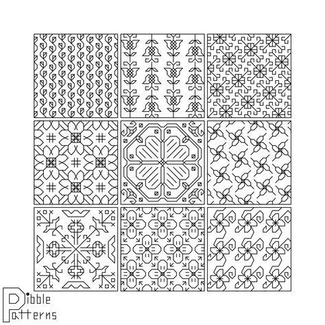 Small Blackwork Floral Sampler - Modern Cross Stitch Pattern PDF File - Instant Download
