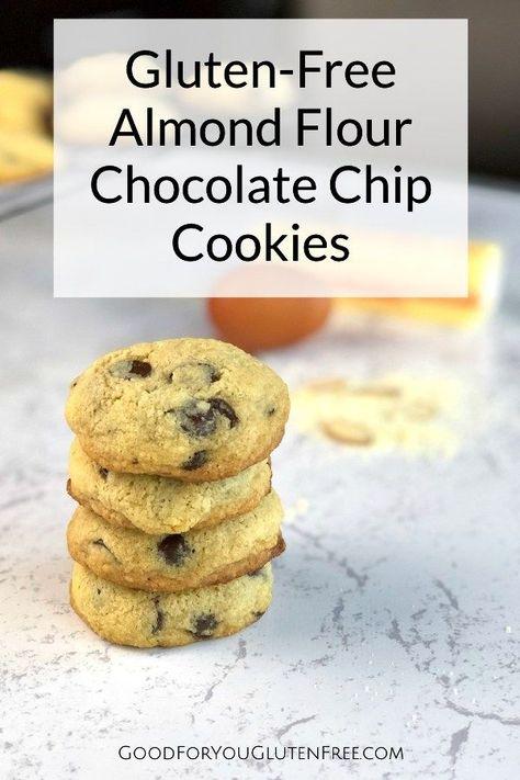 Gluten-Free Almond Flour Chocolate Chip Cookies #glutenfreerecipes #cookierecipe #almondflourrecipes
