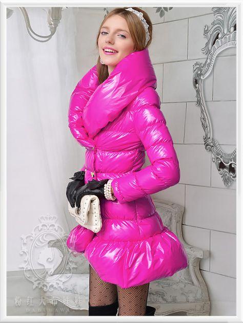 Shocking pink puffer down coat