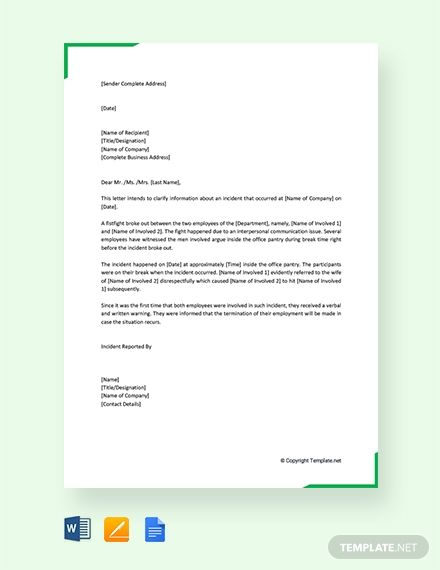 Free Incident Report Letter In Workplace Report Writing Format