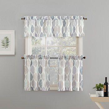 No 918 Mikko 3 Pc Rod Pocket Kitchen Curtain Set Color White
